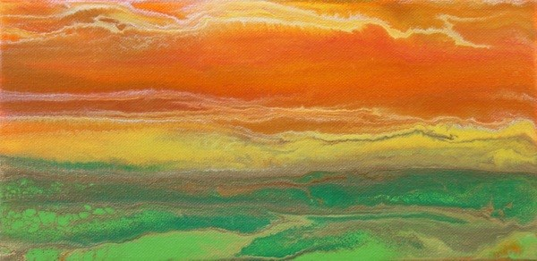 """Contemporary Abstract Landscape,Sunset Painting,""Sky on Fire-Mini i# 1"" by International Contemporar"" original fine art by Kimberly Conrad"