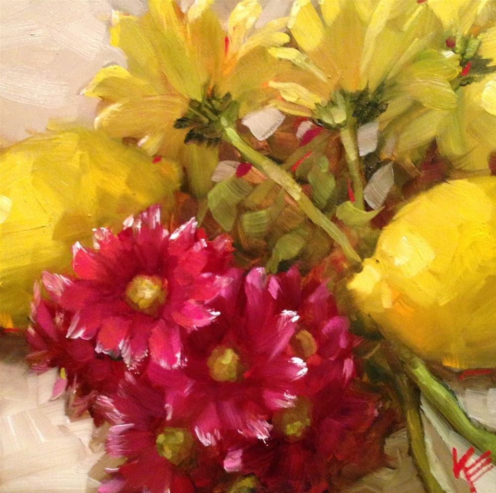 """Lemons & Daisies II"" original fine art by Krista Eaton"