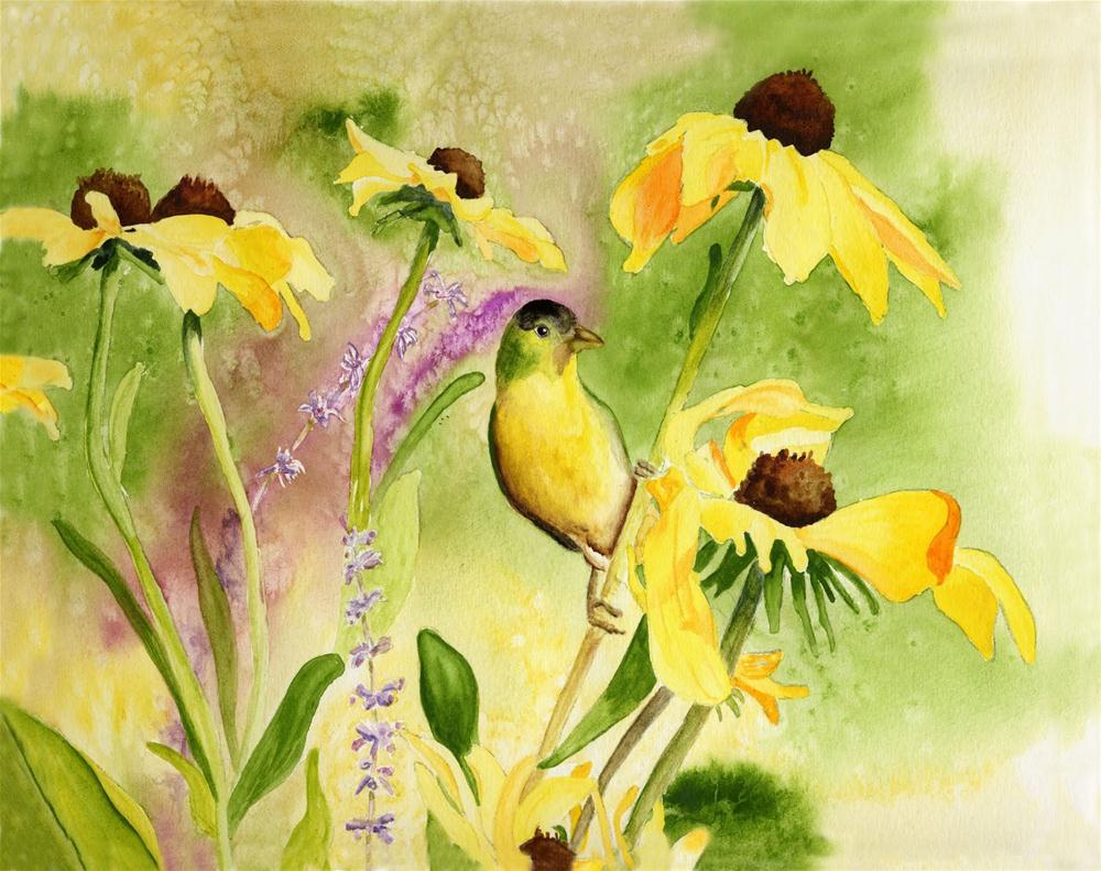 """Goldfinch Among Sunflowers"" original fine art by Michelle Wolfe"