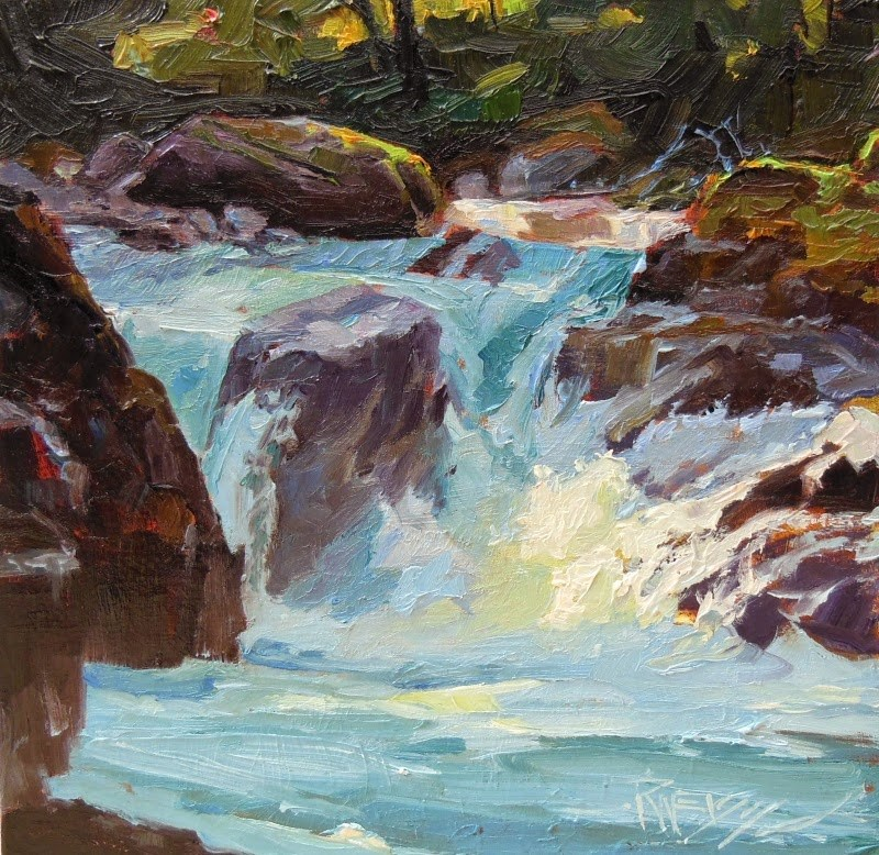 """Salmon Cascade  Sol Duc River, , landscape oil painting by Robin Weiss in the Randy Higbee 6"" original fine art by Robin Weiss"