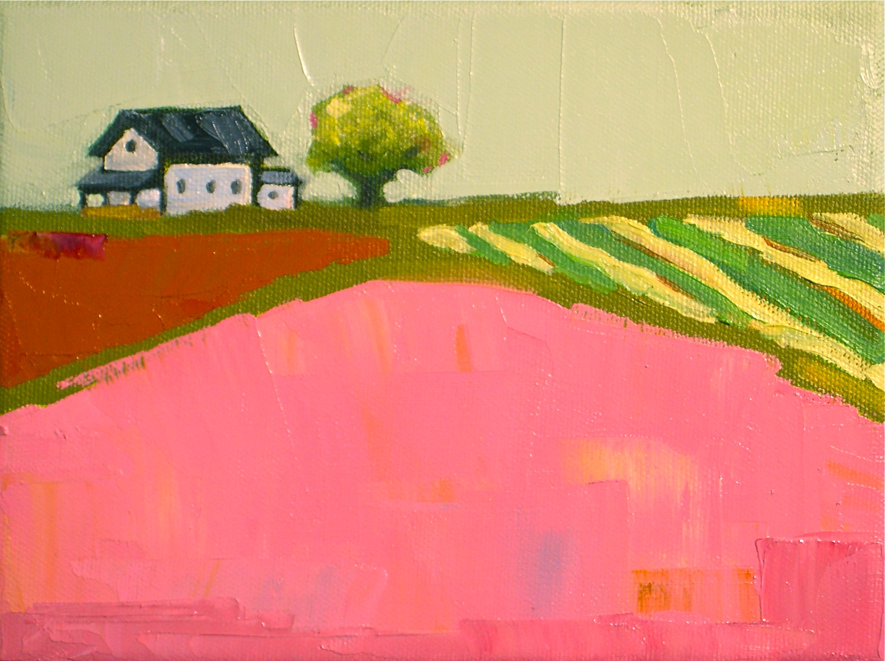"""Pink Fields III"" original fine art by Donna Walker"