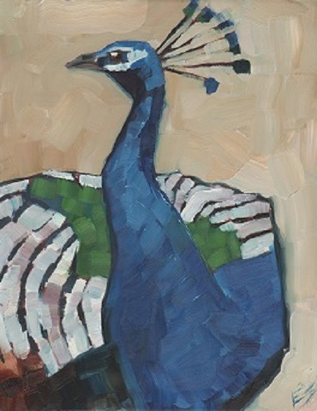 """Maryhill Peacock"" original fine art by Elizabeth See"
