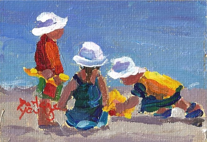 """927 Beach Kids,2.5x3.3, oil on board"" original fine art by Darlene Young"