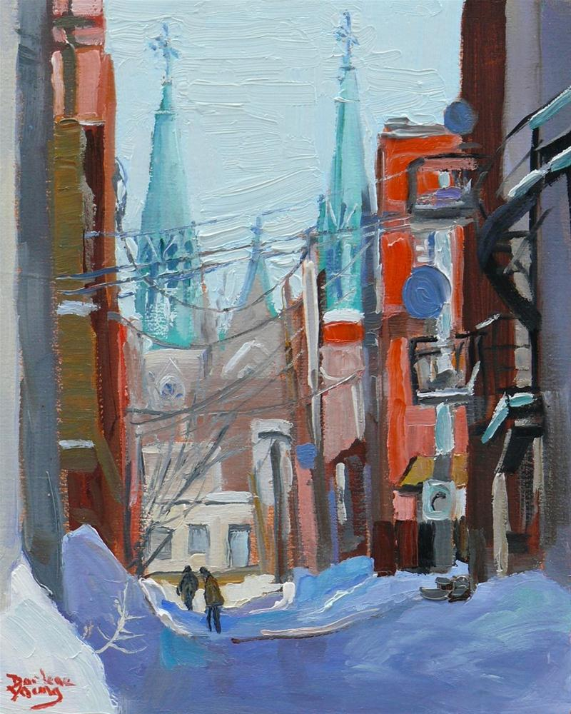 """599 Little Italy, Montreal Winter Scene"" original fine art by Darlene Young"