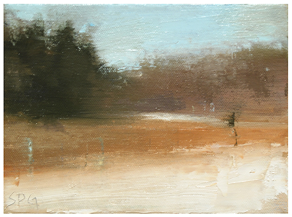 """Last snow (on the fields)"" original fine art by Steven Goodman"