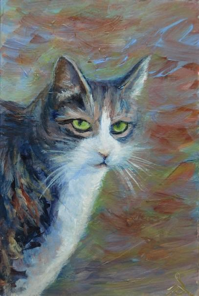"""3146 - Fat Cat - Pal Portrait"" original fine art by Sea Dean"