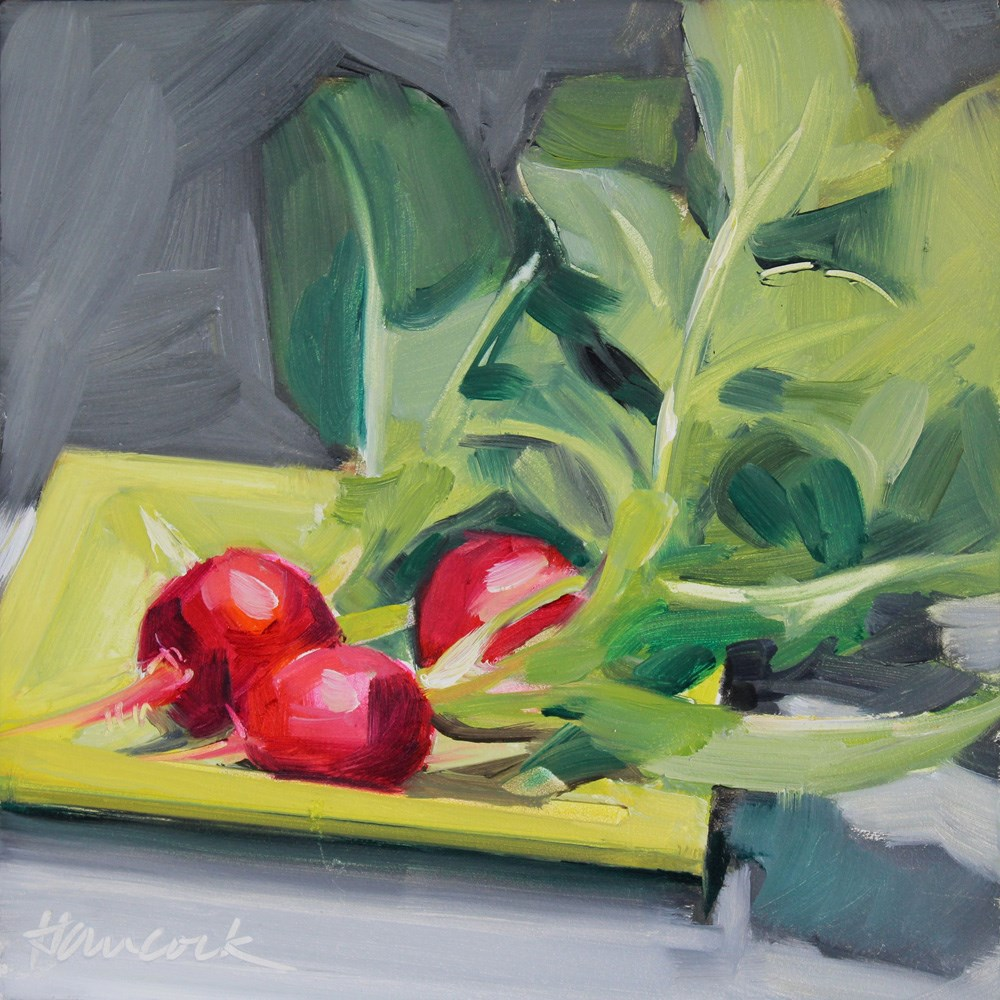 """Three Radishes on Yellow Green"" original fine art by Gretchen Hancock"