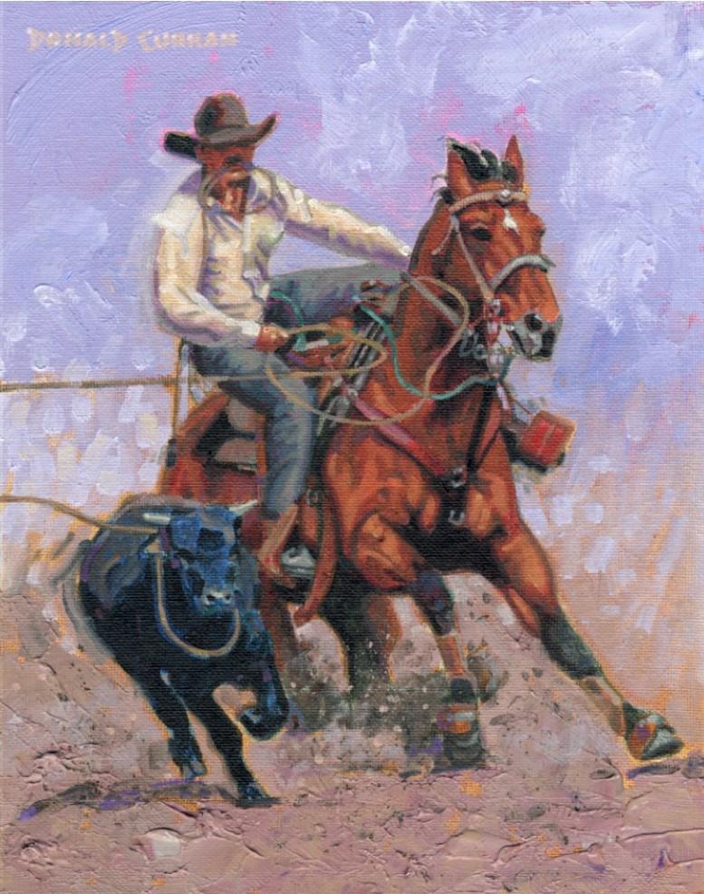 """Ropin' A Calf"" original fine art by Donald Curran"