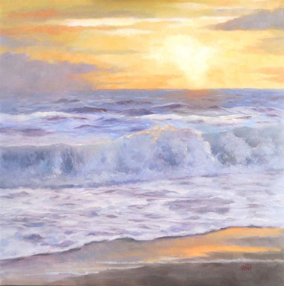 """Fall Sunrise, 20x20 Oil on Canvas Seascape, Beach Scene at Sunrise"" original fine art by Carmen Beecher"