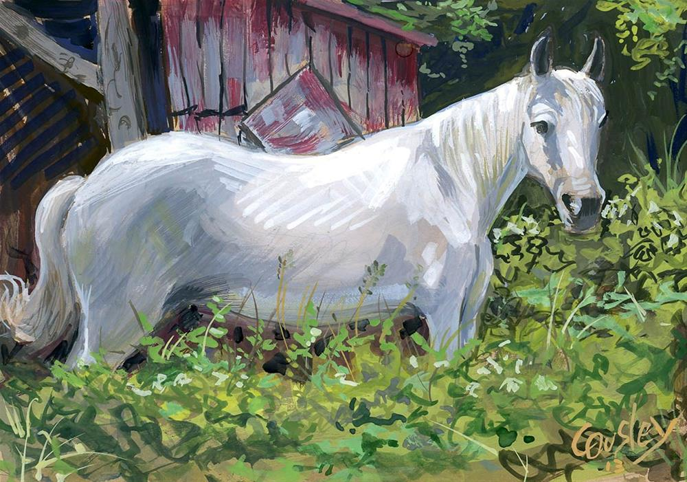 """Pretty White Horse"" original fine art by Chris Ousley"