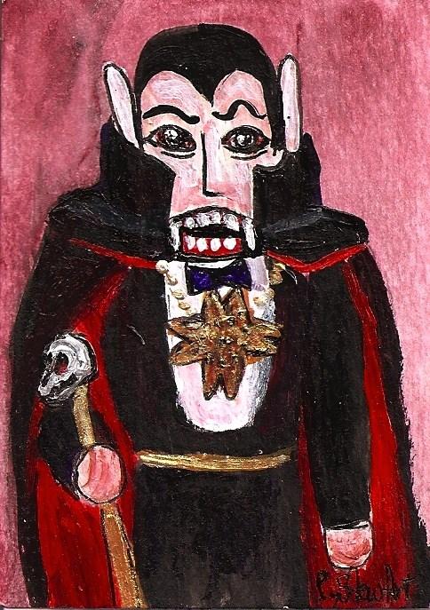 """Happy Halloween ACEO Nutcracker Painting Dracula Vampire Black Cloak SFA OOAK Penny StewArt"" original fine art by Penny Lee StewArt"