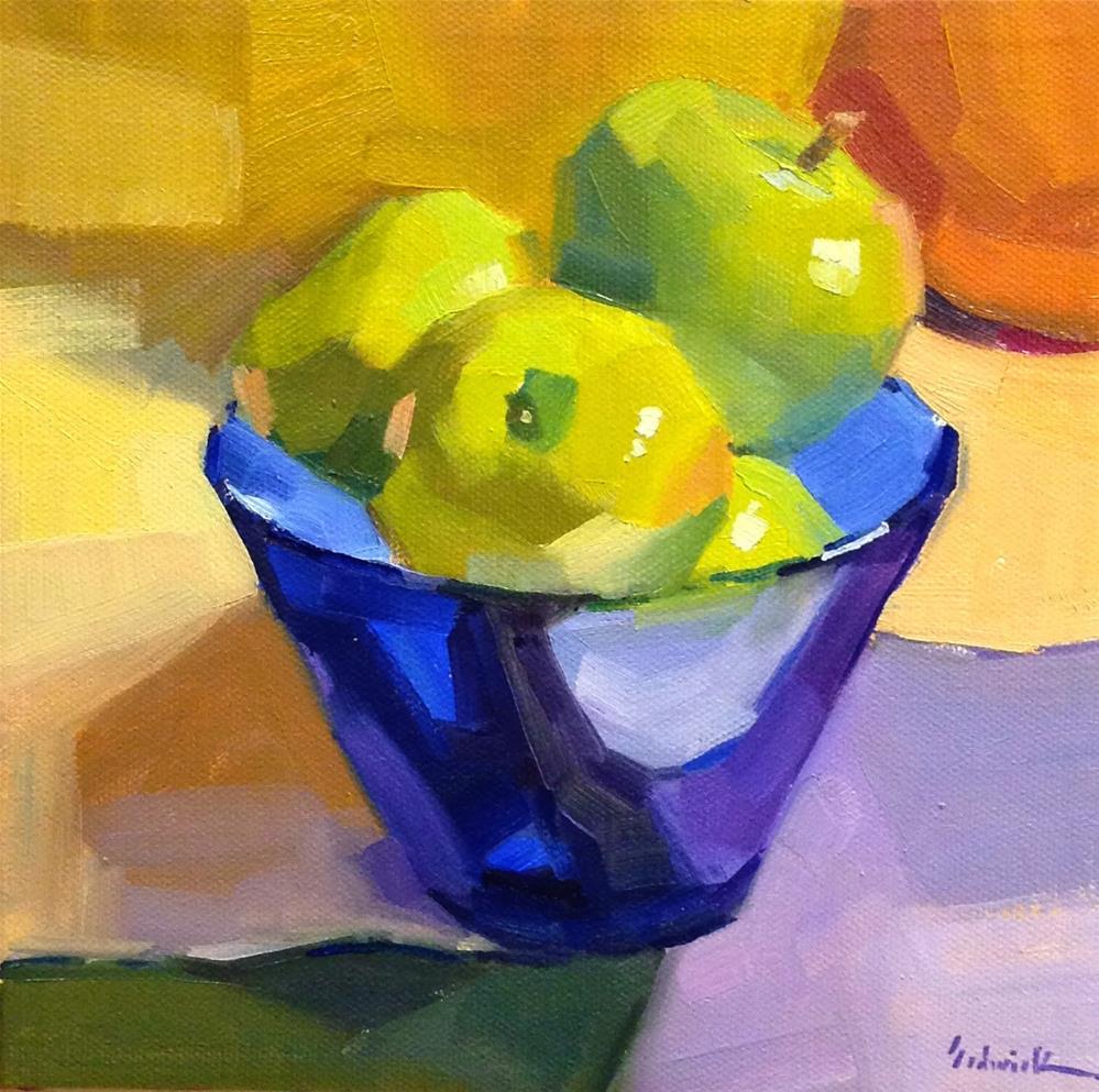 """Green Apples in Blue Glass"" original fine art by Sarah Sedwick"
