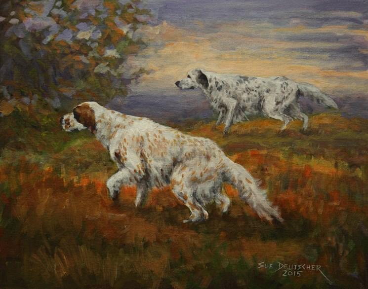 """""""English Setters"""" original fine art by Sue Deutscher"""