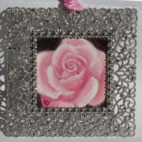 """Pink Rose Ornament"" original fine art by Ruth Stewart"
