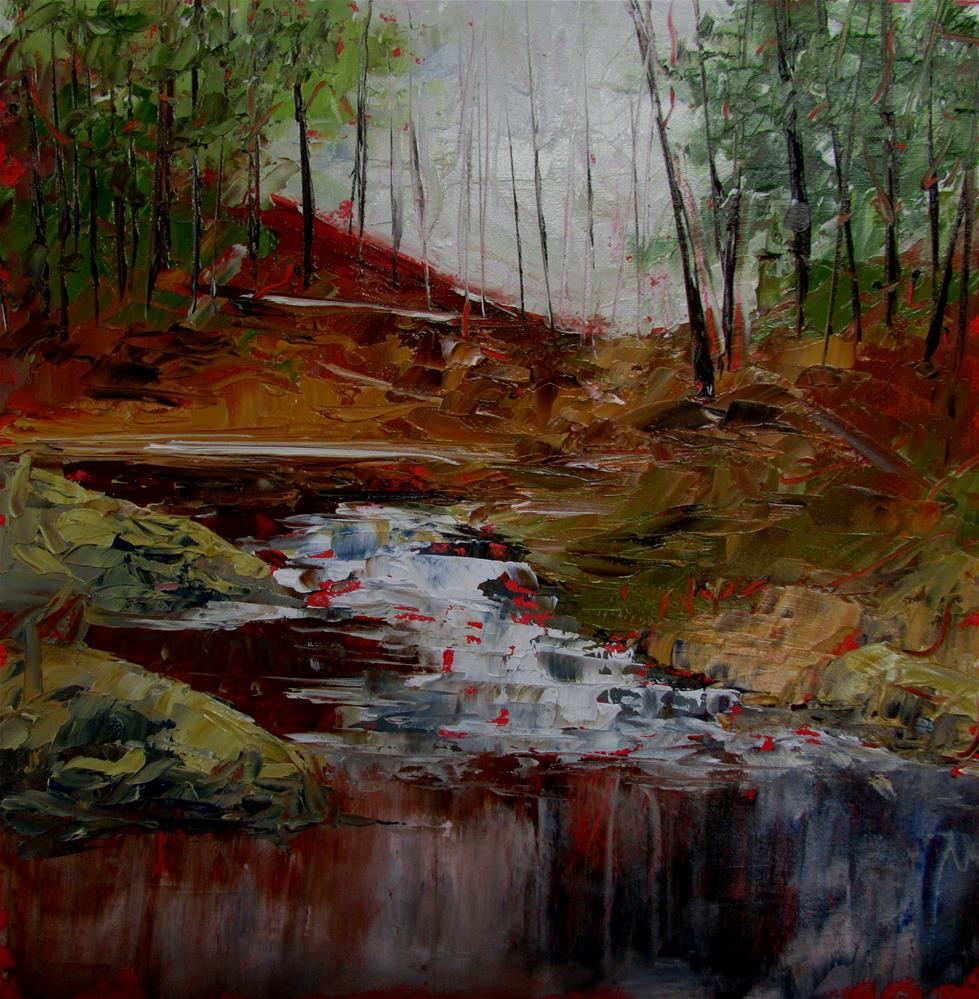 """8 x 8 inch oil Waterfall #4"" original fine art by Linda Yurgensen"