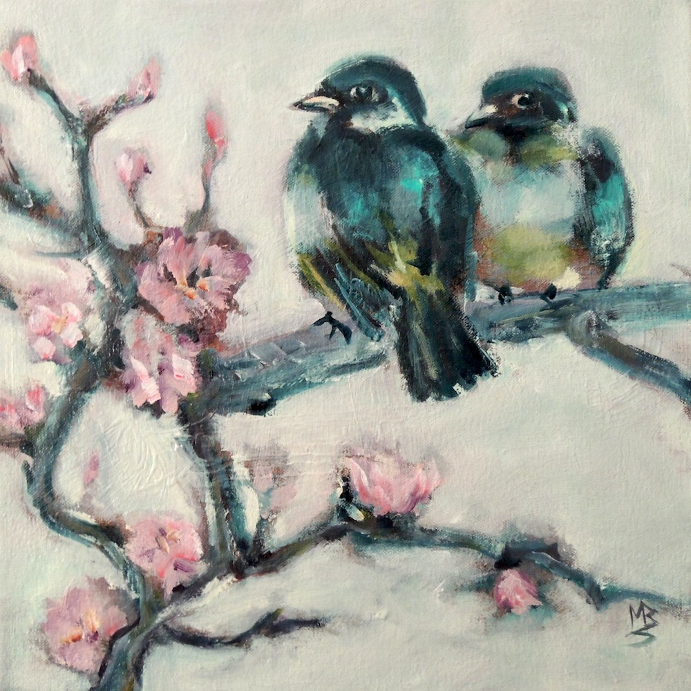 """Teal and Pink"" original fine art by Mary Schiros"