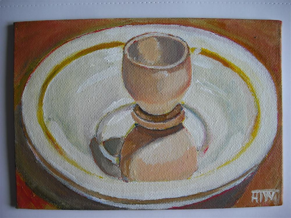 """Wooden Eggcup Leaning Back On Plate"" original fine art by Heather Whiting"