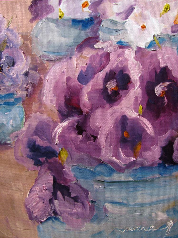 """Purple Pansies, Violas, and Violets"" original fine art by Susan Elizabeth Jones"