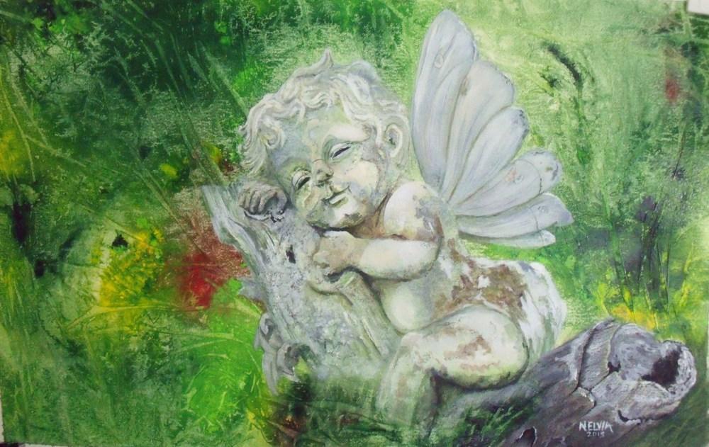 """Garden Fairy"" original fine art by Nelvia  McGrath"