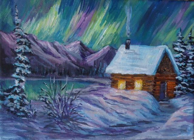 """Northern Lights, Winter Cabin"" original fine art by Jackie Irvine"