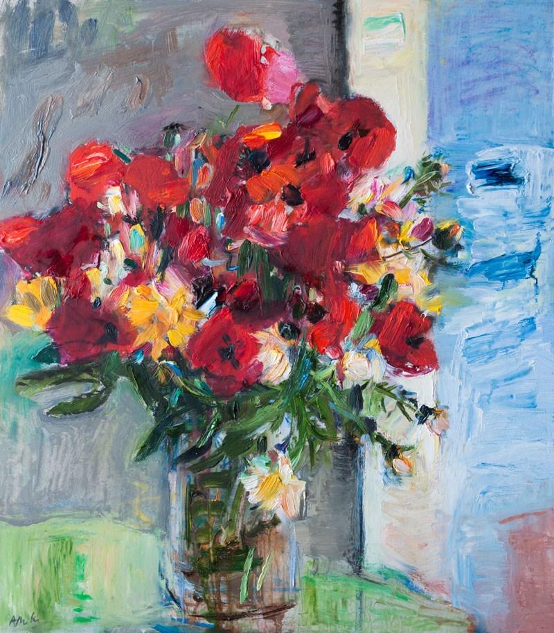 """Red Poppies Flowers by the Window"" original fine art by Anna  Fine Art"