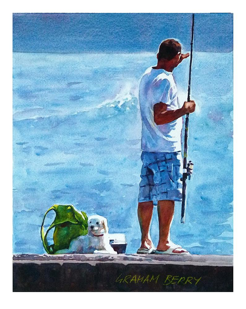 """Man and dog, fishing."" original fine art by Graham Berry"