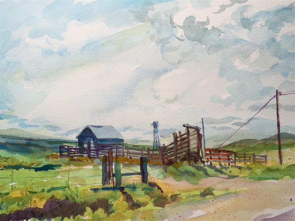 """Cattle Pens"" original fine art by Jean Krueger"
