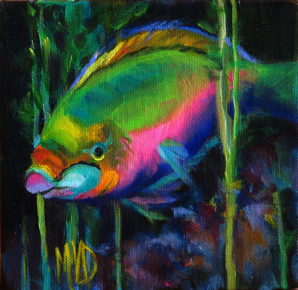 """Waterworld Parrot"" original fine art by Mary  Van Deman"