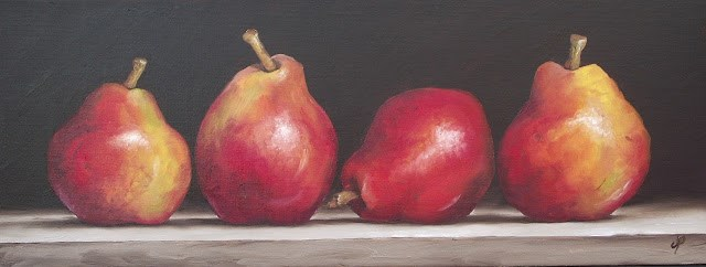 """Four Red Pears"" original fine art by Jane Palmer"