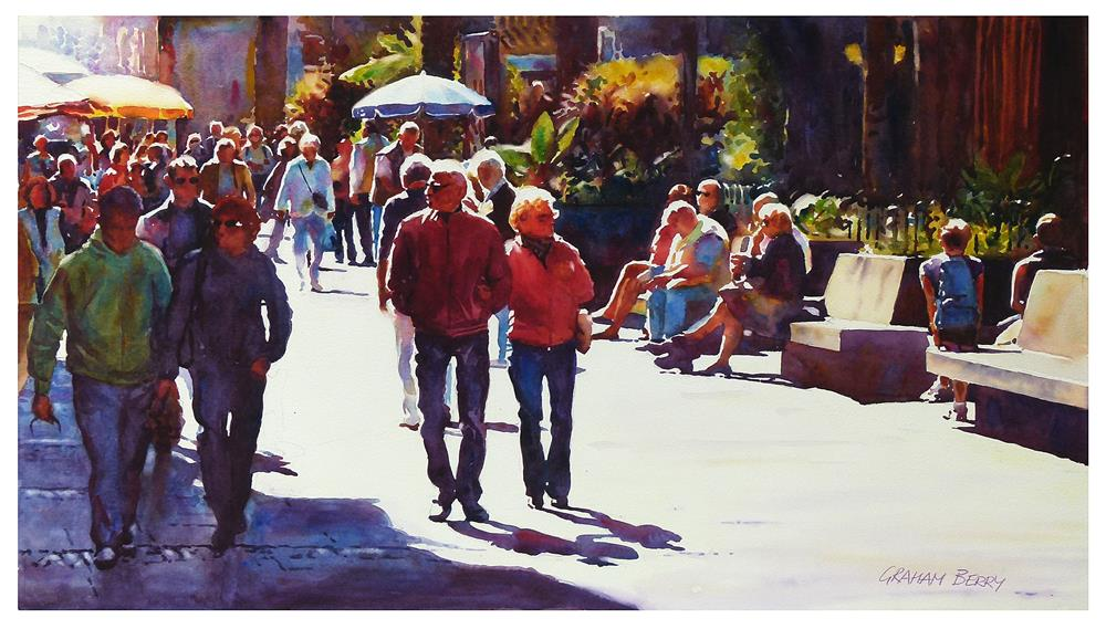 """Walking by Plaza del Charco."" original fine art by Graham Berry"