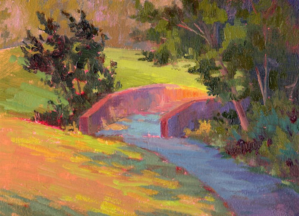 """FOOTBRIDGE SHADOWS"" original fine art by Karen E Lewis"