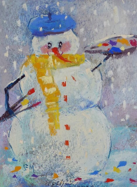 """Happy Holidays From My Yearly Snowman"" original fine art by Karen Margulis"