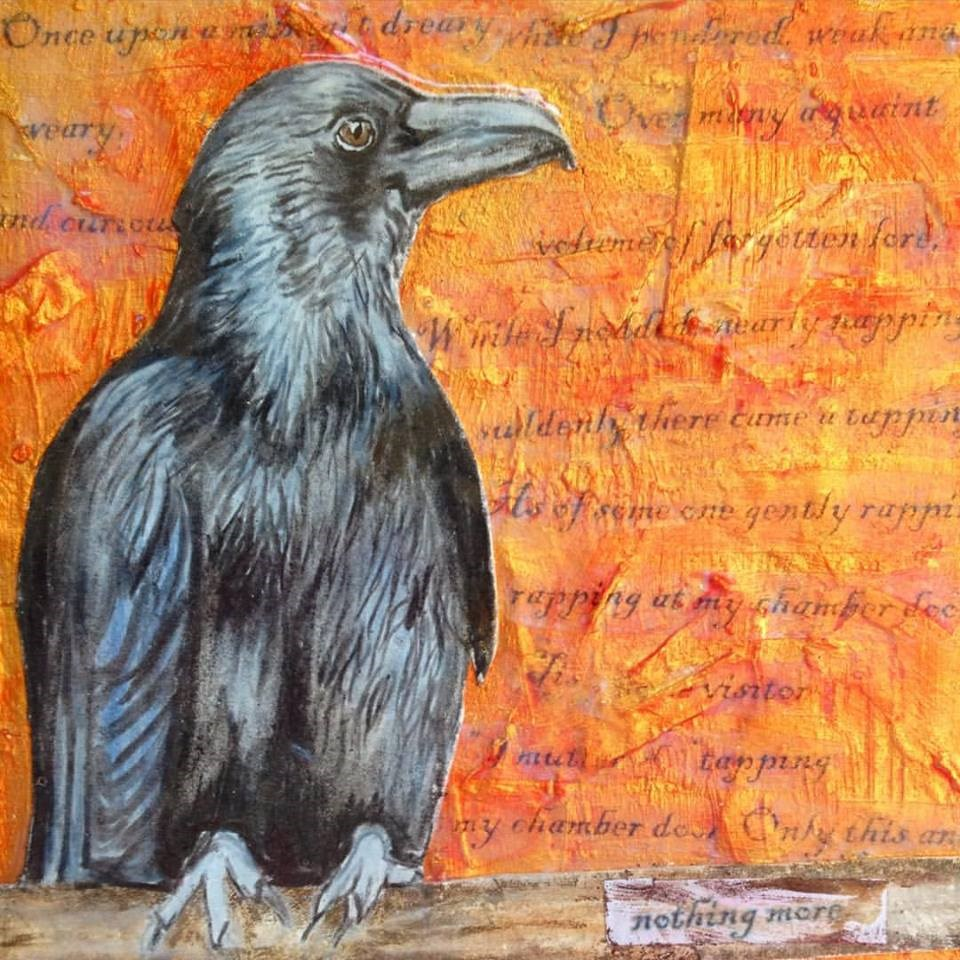 """The Poetry of Birds:  Edgar Allan Poe"" original fine art by Lisa Wiertel"