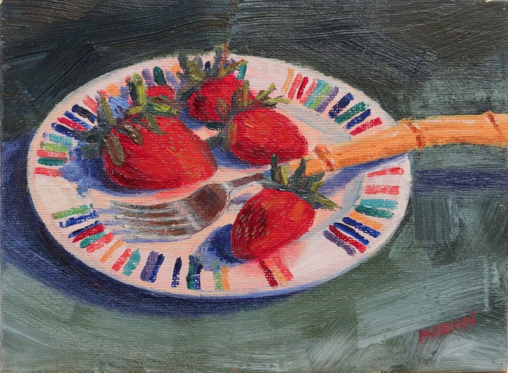 """Best Fork 'n Strawberries"" original fine art by Richard Kiehn"