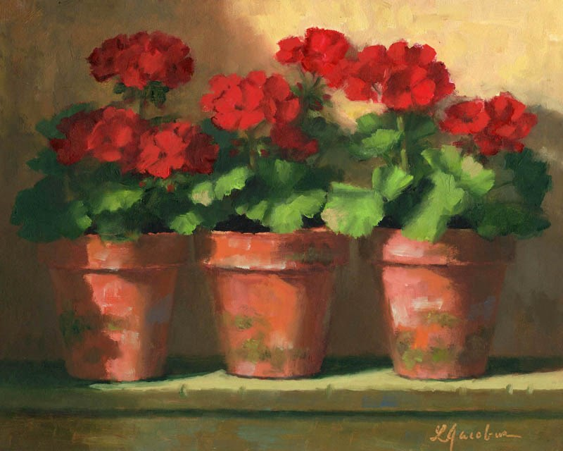 """Geranium Trio"" original fine art by Linda Jacobus"