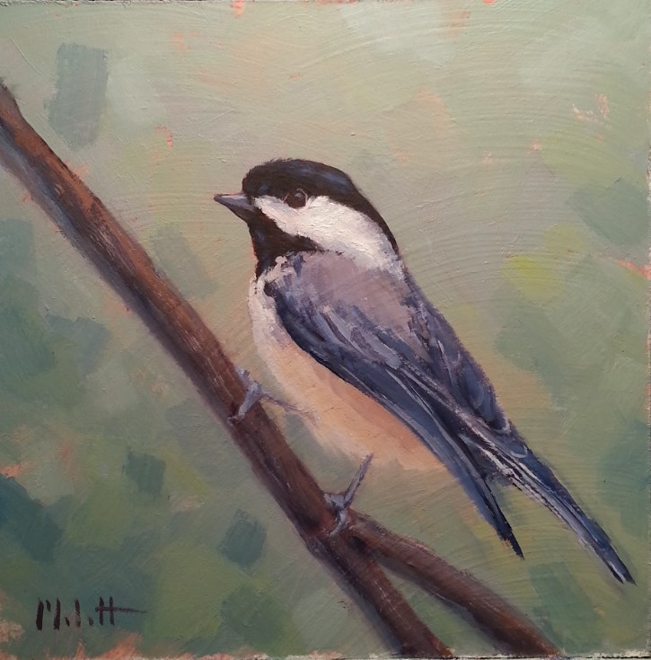 """Freedom Chickadee Bird Oil Painting"" original fine art by Heidi Malott"