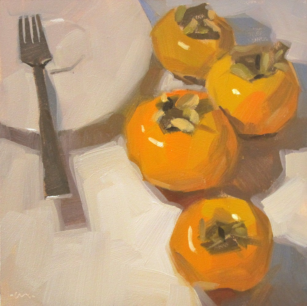 """Pacify the Persimmons"" original fine art by Carol Marine"