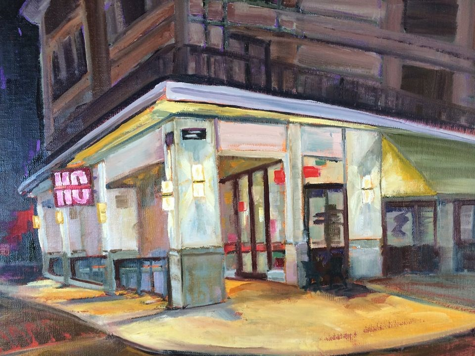 """Corner Coffee"" original fine art by Shawn Deitch"