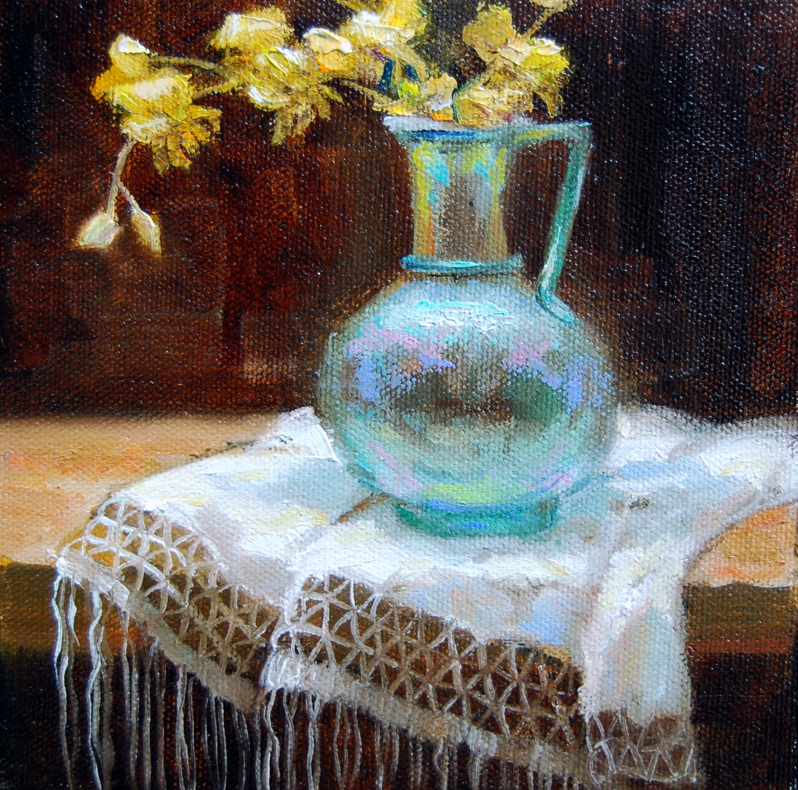 Ancient Roman Vessel with Orchids original fine art by Julie Ford Oliver