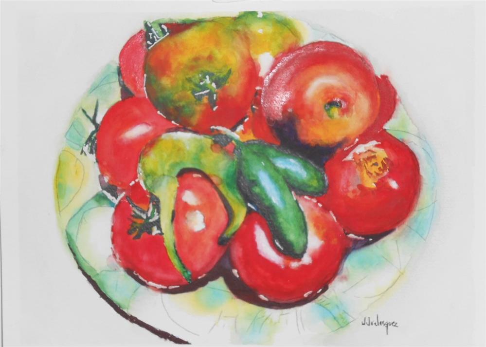 """Garden Tomatoes"" original fine art by Juan Velasquez"