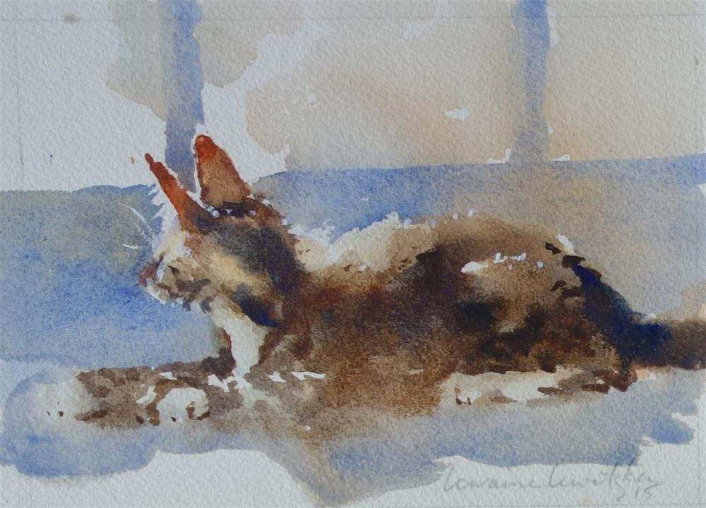 """""""Watching Cat"""" original fine art by Lorraine Lewitzka"""