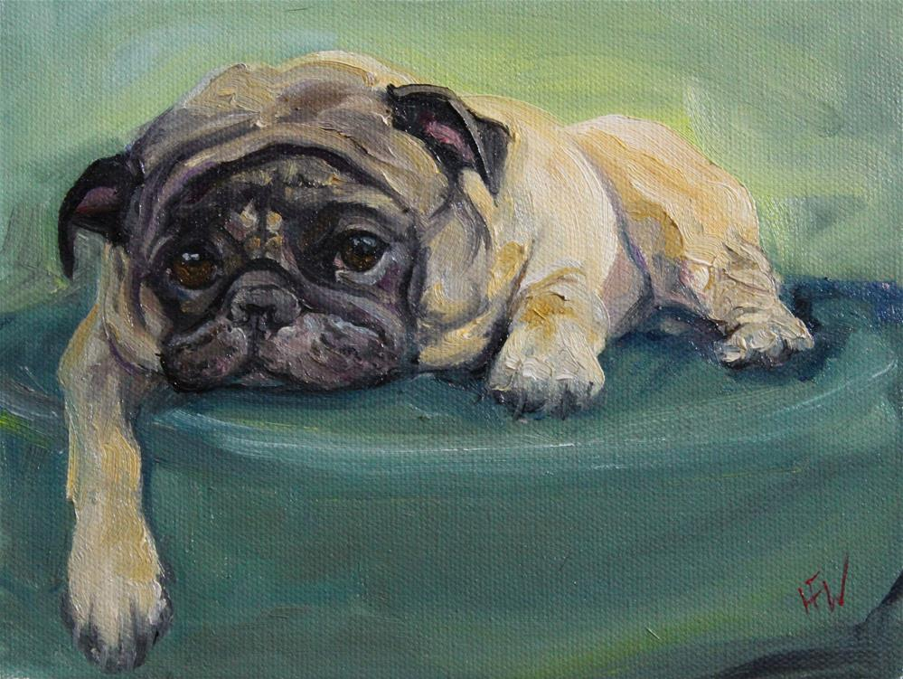 """Lounging Pug"" original fine art by H.F. Wallen"