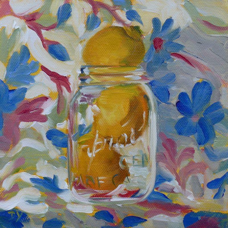 """Lemon Twist, oil on canvas board, 6x6"" original fine art by Darlene Young"