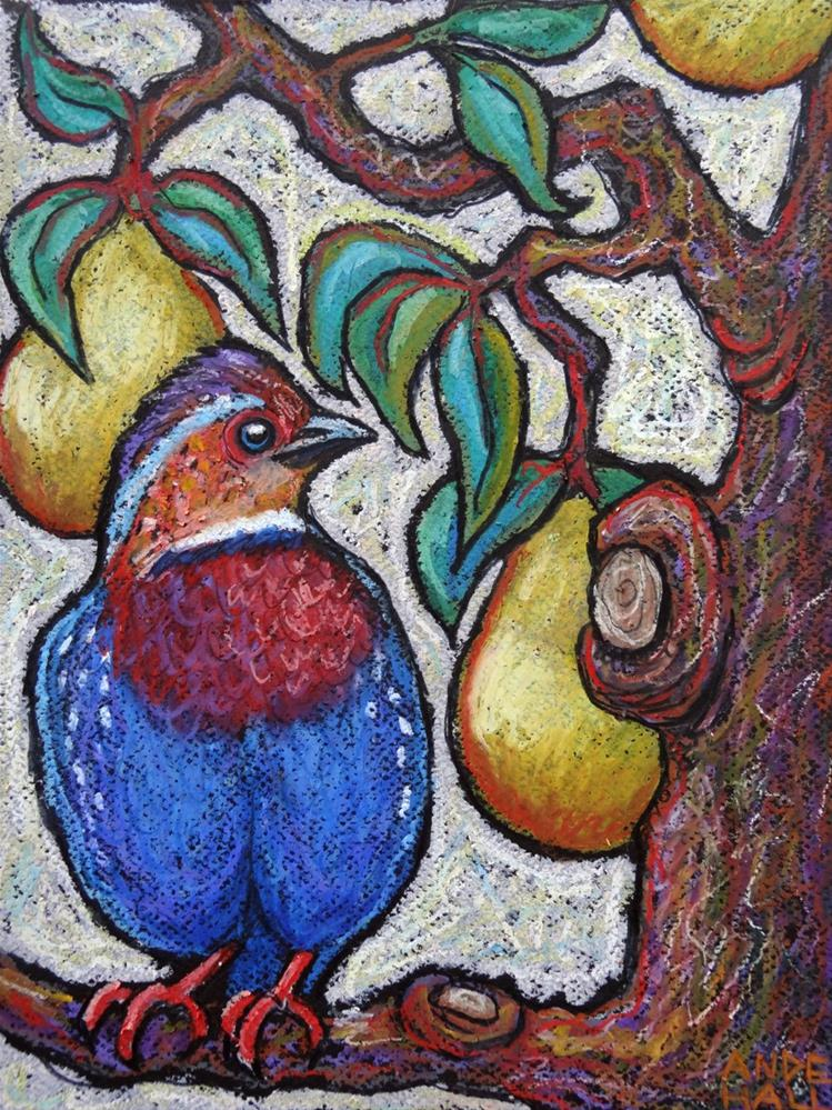 """Chestnut Breasted Partidge in a Pear Tree"" original fine art by Ande Hall"