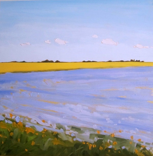 """Flax Meets Canola"" original fine art by Nicki Ault"