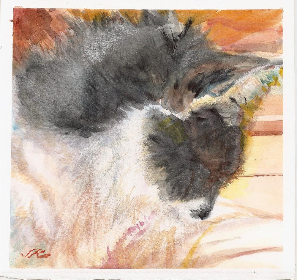 """Cat Dozing"" original fine art by Jean Krueger"