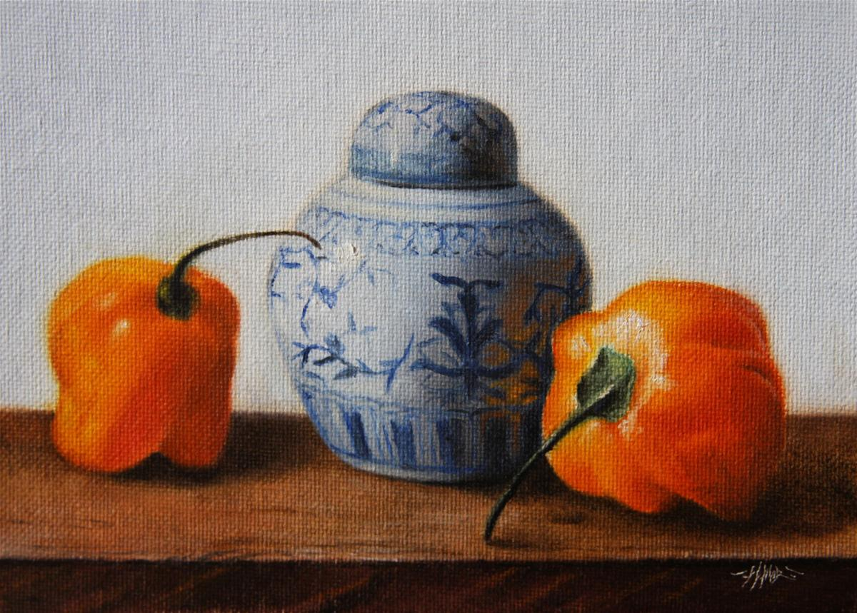 """Peppers & Vase"" original fine art by Jonathan Aller"