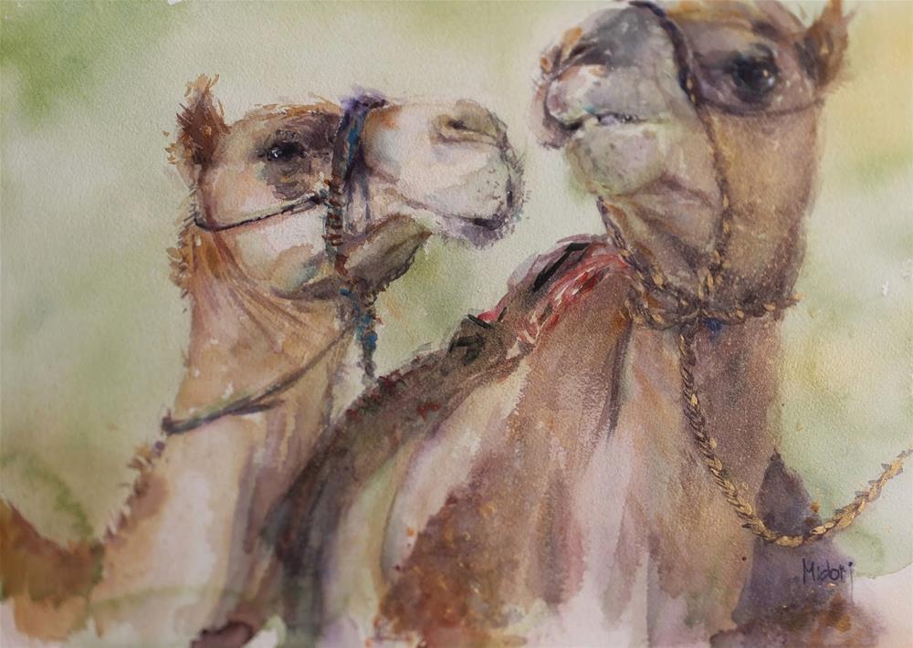 """""""Al Ain Camel race track 3/7"""" original fine art by Midori Yoshino"""