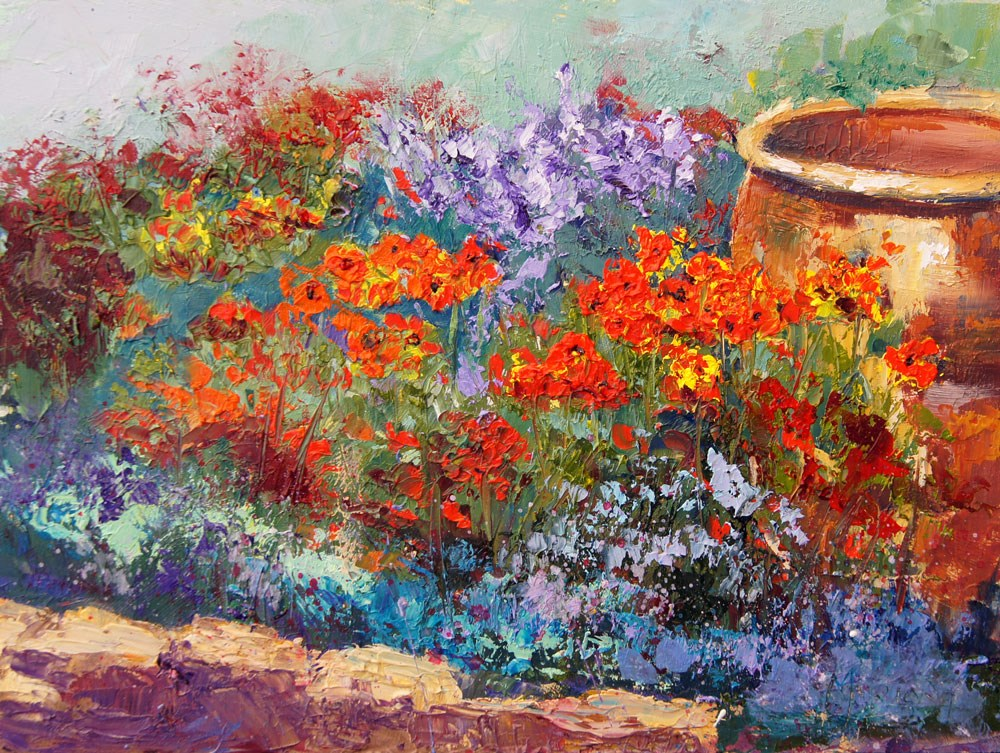 """Spring Garden Corner 2"" original fine art by Marion Hedger"