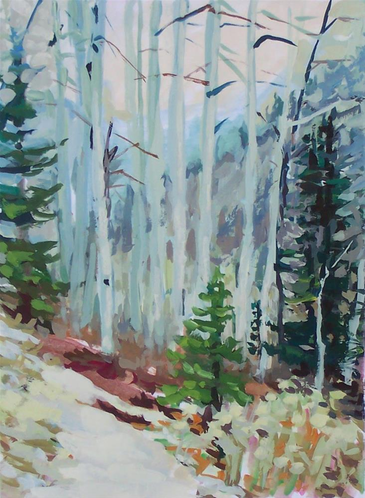 """first Snow,landscape,gouache watercolor,7x5,price$100"" original fine art by Joy Olney"